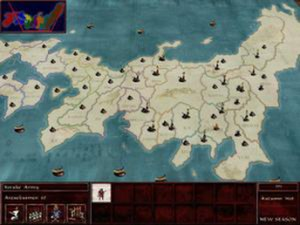 Shogun: Total War - Much of the game takes place on a turn-based strategy map of Japan