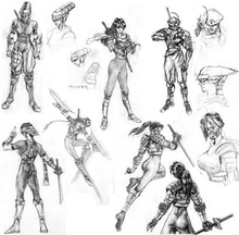 Eight black and white pencil drawings of a young woman in fighting costumes and poses.