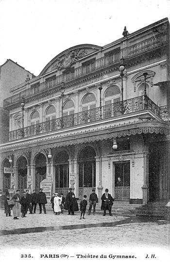 English: Théâtre du Gymnase, postcard. (The im...