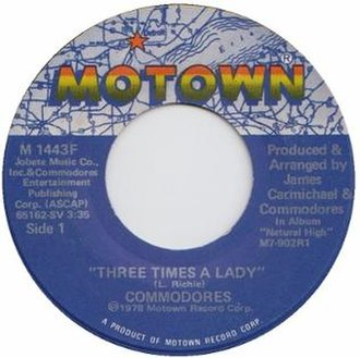 Three Times a Lady - A-side label of the U.S. vinyl single