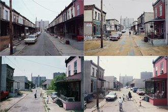 Camilo José Vergara - Sequence of 4 photographs taken by Camilo José Vergara of Fern Street in N. Camden, NJ from 1979–2004. Demonstrates Vergara's use of time lapse in recording a site over time. Clockwise from top left 1979, 1988, 1997, 2004.