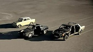 "From left to right: ""Oliver"" the 1963 Opel Kadett (Hammond), 1981 Lancia Beta Coupé (Clarkson) and 1985 Mercedes-Benz 230E (May) crossing the Makgadikgadi Pan post stripdown modifications"