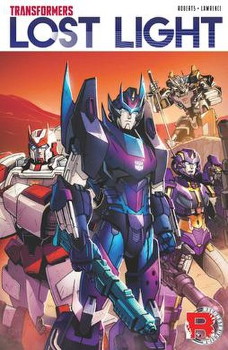Transformers: Lost Light - Cover of the Volume 1 trade paperback (October 25, 2017). Art by Jack Lawrence, colors by Joana Lafuente.