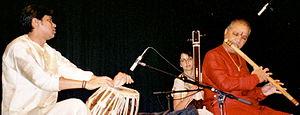 Hariprasad Chaurasia - Benaras Gharana's Tabla player  Udai Mazumdar accompanying Pandit Hariprasad Chaurasia in a concert