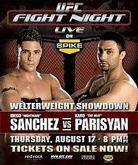 A poster or logo for UFC Fight Night: Sanchez vs. Parisyan.
