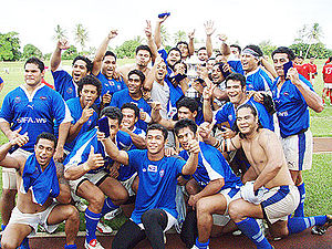The Jublious Upolu Samoa team after winning th...