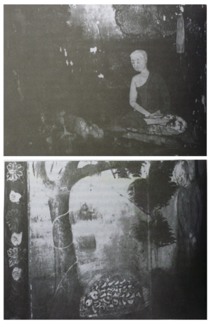 Dhutanga - 19th Century mural paintings depicting monks on dhutanga at Wat Somanat in Bangkok, Thailand.