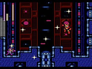 The player battles Quick Man in Mega Man 2.