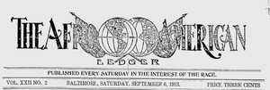 Baltimore Afro-American - Nameplate of The Afro-American Ledger, September 6, 1913