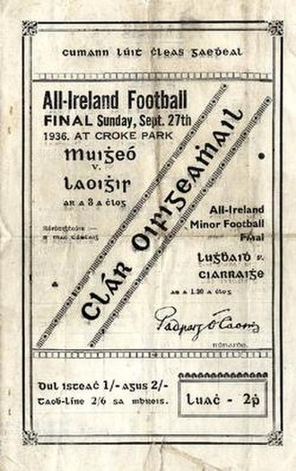1936 All-Ireland Senior Football Championship Final - Image: 1936 All Ireland Senior Football Championship Final p