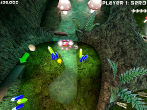 Adventure Pinball: Forgotten Island - Story mode features unique gems to collect throughout the levels for special power-ups. A ruby gem is found here in a mushroom cave.