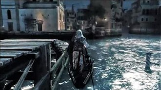Assassin's Creed II - Ezio stealing a gondola from a small pier