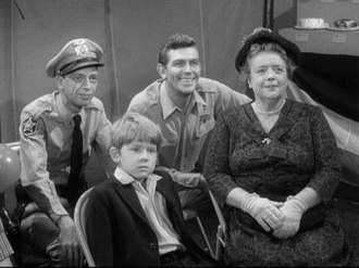 The Andy Griffith Show - From left: Deputy Barney Fife (Don Knotts), Opie Taylor (Ron Howard), Sheriff Andy Taylor (Andy Griffith), and Aunt Bee (Frances Bavier)