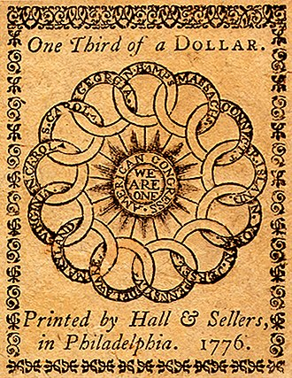 Great Seal of the United States - du Simitiere's initial sketch, and Franklin's earlier design on a 1776 currency note