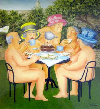 Beryl Cook - Beryl Cook, Tea in the Garden