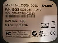 """Made in China"" label on a D-Link Gigabit Ethernet switch."