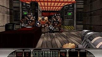 Duke Nukem 3D - Duke Nukem 3D: Megaton Edition. Note the higher-resolution HUD and OpenGL graphics.