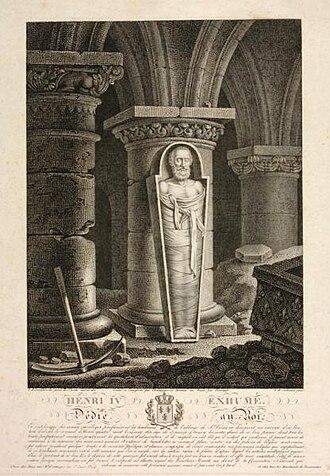 Eustache-Hyacinthe Langlois - Henri IV exhumé/ Dédié au Roi by Langlois from a painting by François Gabriel Théodore Basset de Jolimont