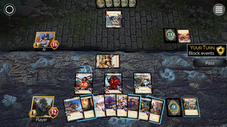 Epic Card Game - Example of gameplay, from the digital app for the game.