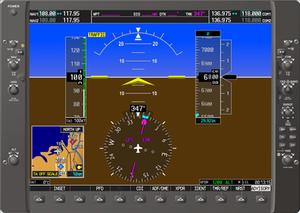 Garmin G1000 - Screenshot of the PFD on the G1000