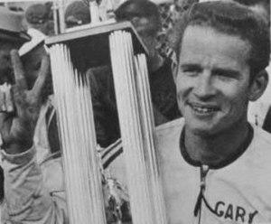 Gary Nixon - Nixon with the Daytona 200 winner's trophy