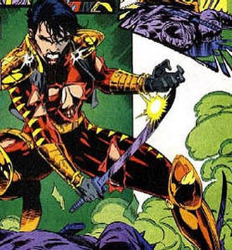 Gypsy (comics) - Gypsy in battle armor, during her time serving in the Justice League Task Force.