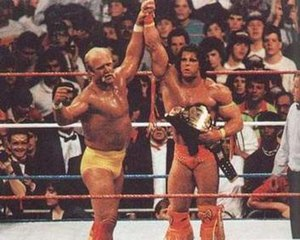 The Ultimate Warrior - Hulk Hogan (left) endorsing The Ultimate Warrior after Warrior defeated him to win the WWF World Heavyweight Championship at WrestleMania VI