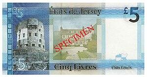 Jersey pound - Image: Jersey five pound sterling reverse