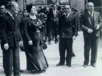Juan García Oliver - Caballero government ministers (November 1936). From left to right: Jaume Aigudé i Miró (ERC), Federica Montseny (CNT-FAI), Juan García Oliver (CNT-FAI) and Anastasio de Gracia (PSOE)