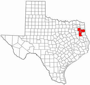 Longview–Marshall combined statistical area - Map of Texas highlighting the Longview-Marshall combined statistical area.