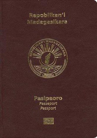Malagasy passport - The front cover of a Malagasy passport