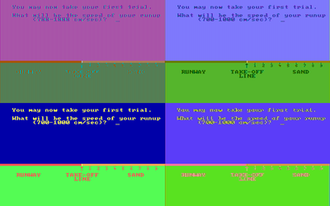 Composite artifact colors - Microsoft Decathlon (CGA) - Top: Game in composite mode, Bottom: Game in RGB mode, Left: with RGB monitor, Right: with composite monitor