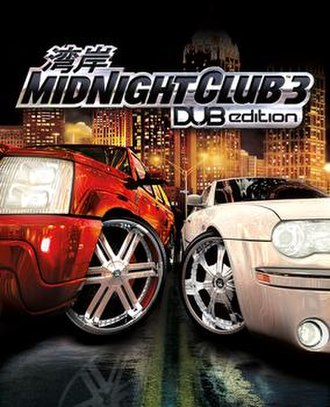Midnight Club 3: Dub Edition - Cover art, featuring a Cadillac Escalade (left), and a Chrysler 300C (right) with the skyline of downtown Atlanta, Georgia in the background.