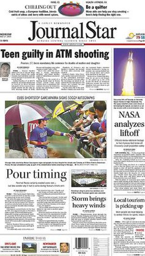 Journal Star (Peoria) - Image: Peoria Journal Star front page