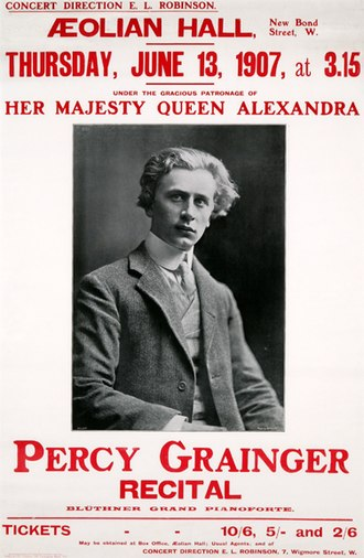 Percy Grainger - Notice for a 1907 Grainger recital, Aeolian Hall, London