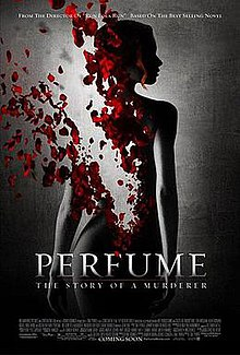 The film's poster is dominated by the dark silhouette of a naked woman standing against a brightly lit black background with her back facing towards the camera. The top left quarter of her back, from her lower back to her left shoulder, has been digitally altered to deteriorate gradually into a bevy of bright red rose petals.