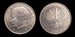 The Max Planck DM2 coin.