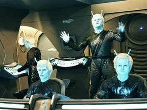 "Andorian - Commander Shran and crew from the 2004 Star Trek: Enterprise episode ""Proving Ground""."