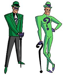 11e951db9f6 The Riddler as he appeared in Batman  The Animated Series (left) and The  New Batman Adventures (right)