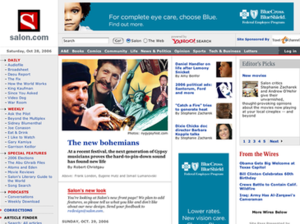 Salon (website) - Front-page design in 2006