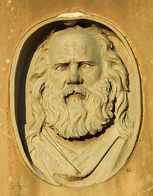 Samuel Bamford - Relief portrait of Samuel Bamford on the obelisk in Middleton Cemetery