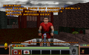 Strife (1996 video game) - A conversation with a non-player character in the town of Tarnhill.