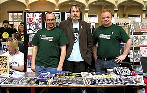 FutureQuake - The FutureQuake editorial team at the Bristol Comic Expo 2006. From left to right: Richmond Clements, Edward Berridge and David Evans