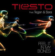 A Black background and the three bones on the rainbow colour and the name of red word is 'TIESTO' and white word is 'Feat. Tegan & Sara FEEL IT IN MY BONES'