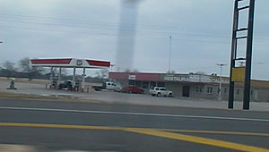 Tomlinson Hill, Texas - Gas station and closed restaurant at junction with Highway 7