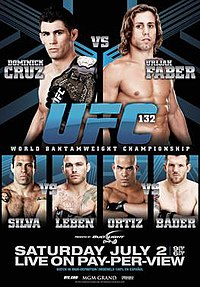 A poster or logo for UFC 132: Cruz vs. Faber 2.