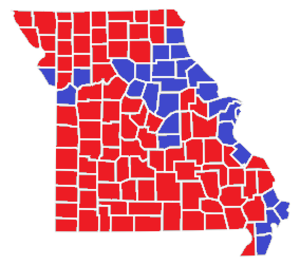 United States presidential election in Missouri, 1960 - Image: United States presidential election in Missouri by county, 1960