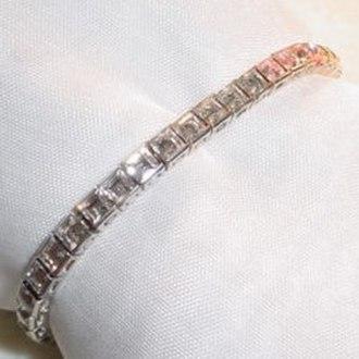 """Bracelet - Vintage Trifari in-line jewelry bracelet, a.k.a. """"tennis bracelet""""."""