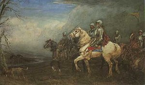 Border Reivers - Auld Wat of Harden by Tom Scott. A romanticised image of a notorious raider, Walter Scott of Harden.