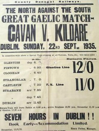 County Donegal Railways Joint Committee - Poster advertising special trains for the 1935 All-Ireland Senior Football Championship Final.